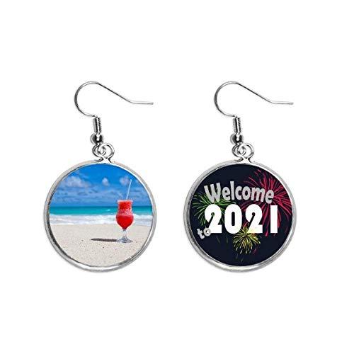 Ozean Sand Strand Wassermelone Saft Bild Ohrringe Schmuck 2021 Segen