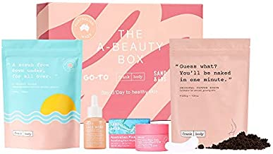 Frank Body Limited Edition A-Beauty Box From Australia | Includes Original Coffee Scrub, A-Beauty Body Scrub, Go-To's Face Hero Oil, Sand & Sky's Purifying Pink Clay Mask