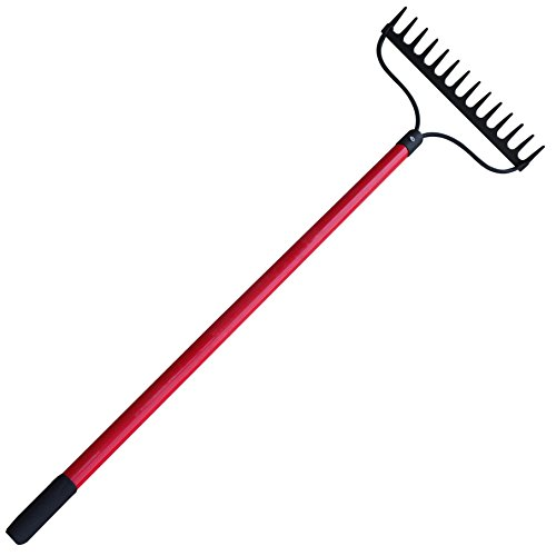 TABOR TOOLS J205A Level Head Rake with Strong Long 54 Inch Fiberglass Handle, 14-Tine Garden Rake.