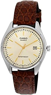 Casio Men's Beige Dial Leather Band Watch - MTP-1175E-9A