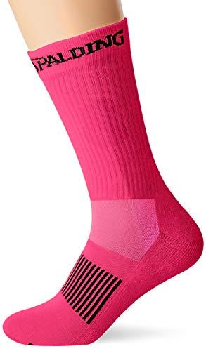 Spalding Coloured S Calcetín Funcional con Logo, Hombre, Rosa (Fluor Pink/Anthracite), 41-45