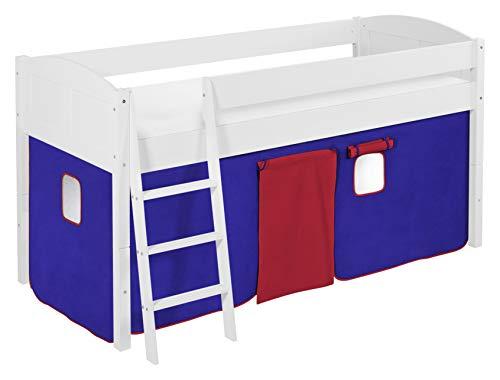 Lilokids Spielbett IDA 4106 Blau Rot-Teilbares Systemhochbett weiß-mit Vorhang Kinderbett, Holz, 208 x 98 x 113 cm