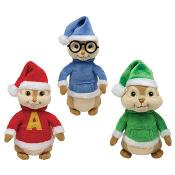 Ty Beanie Babies - Alvin & the Chipmunks Set of 3 (Alvin, Simon & Theodore with Holiday Hats)
