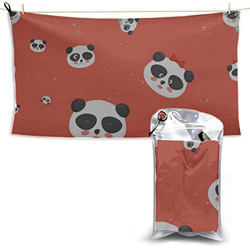 Panda Head from China Microfiber Towel Wash Beach Towel for Teen Girls Microfiber Towels for Body Kids Travel Towel 27.5'' X 51''(70 X 130cm) Best for Gym Travel Camp Yoga Fitnes