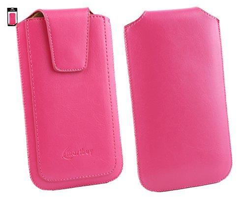 Emartbuy® Siswoo A5 Chocolate 5 Zoll Smartphone Sleek Serie Rosa Luxury PU Leder Tasche Hülle Schutzhülle Hülle Cover ( Größe 4XL ) Mit Ausziehhilfe