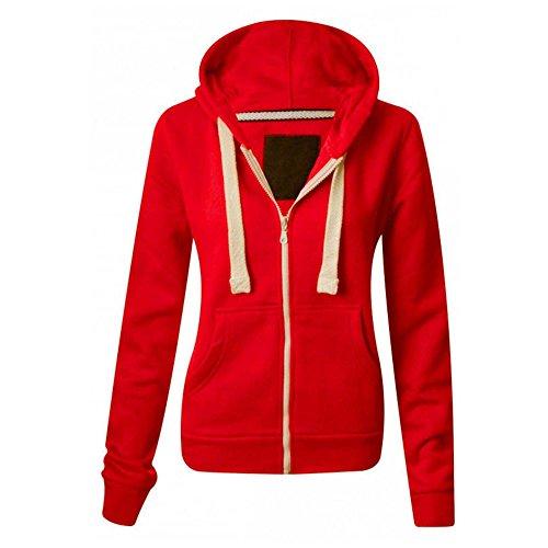 Generic - Sweat Femme Fille Uni Décontracté Manche Longue avec Capuche Extensible Zip Contraste Devant - XL, Rouge