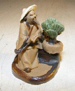 Bonsai Boy's Man Trimming Bonsai Tree Ceramic Mud Figurine