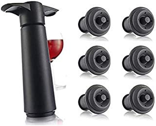 (Black with Set of 8 Stoppers) - Vacu Vin Wine Saver Pump, Black with 6 Vacuum Bottle Stoppers
