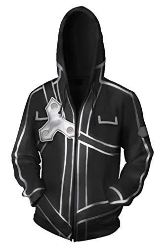 RedJade Sudadera con Capucha Imprimir con Capucha Tops Chaqueta Camisa de Jersey Chaqueta de Sudor Desgastar Camisa de Jersey Saltador Negro Sao Espada Art Online