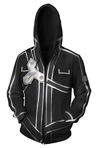 Snuter Anime Sword Art Online Kirito SAO 3D Druck Jacke Hoodie Sweatjacke Zip Hoody Kapuzenpullover Sweatshirt Mantel Zipper Sweatshirts Tops Strickjacke