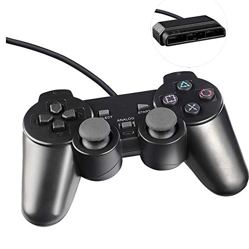YUSH PS2 Controller, Wired Controller für PlayStation 2, Dual Vibration (Schwarz)