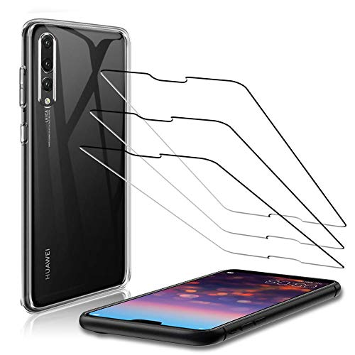 TOPACE pour Huawei p20 pro verre trempé (3) + étui de protection pour téléphone portable (1), protection d'écran et appareil photo, dureté 9H, anti-rayures, protection d'écran en verre pour P20 Pro