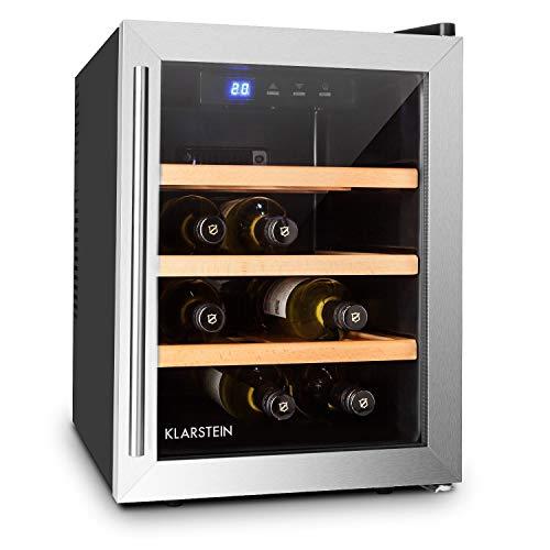 Klarstein Reserva Doce - Mini nevera para 9 Botellas, Nevera para vinos, Capacidad 33 Litros, Eficiencia energética clase A, Estantes de madera, Extra silenciosa, Luz LED interior, Negro-plata
