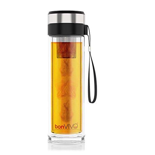 BonVivo® Vitalitea Glas-Trinkflasche Für Tee Und Smoothies, Mit Thermo-Funktion Und Tea-Filter, 0,45 Liter, In Schwarz
