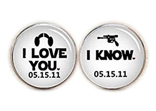 I Love You, I Know Boutons de manchette personnalisés, date, boutons de manchette de mariage Boutons de manchette