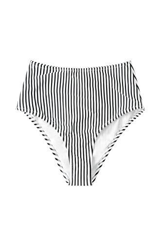 CUPSHE Women's High Waist Bikini Bottom Striped Bathing Suit, M Black/White