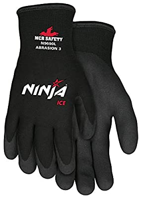 Memphis Glove N9690XL Ninja Ice 15 Gauge Black Nylon Cold Weather Glove, Acrylic Terry Inner, HPT Palm and Fingertips, X-Large, 1 Pair