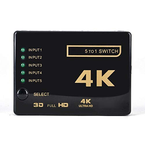 abbybubble Cable Divisor Compatible con HDMI de 5 Puertos, conmutador múltiple 4K, Caja de concentrador Divisor con coleta para HDTV 3840P