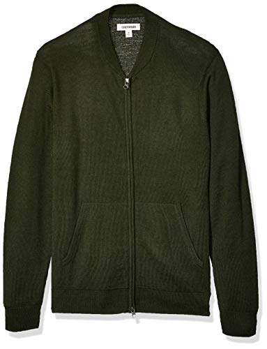 Amazon Brand - Goodthreads Men's Lightweight Merino Wool/Acrylic Bomber Sweater, Olive Medium