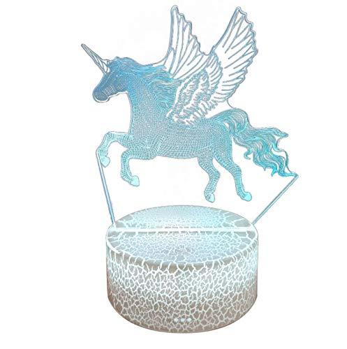 Dinapy Luz de noche de unicornio 3D para niños, lámpara de ilusión 3D, 7 colores que cambian con control inteligente táctil, lámpara de noche, lámparas de mesa, regalos para niñas y niños