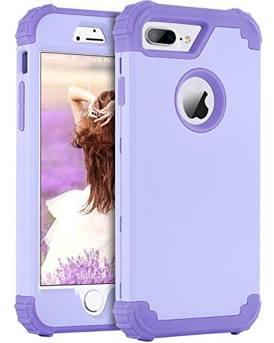 BENTOBEN Custodia per iPhone 7 Plus, iPhone 8 Plus, 3 in 1, in policarbonato rigido e silicone TPU resistente, antiurto, custodia protettiva per iPhone 7 Plus/8 Plus 5,5'