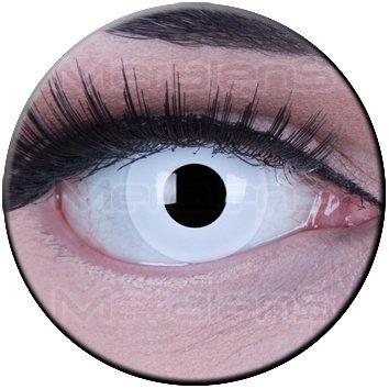 Meralens Farbige Weisse weiße Crazy Fun Kontaktlinsen Zombie White Out perfekt zu Fasching mit gratis Linsenbehälter Topqualität zu Fasching, Karneval und Halloween ohne Stärke