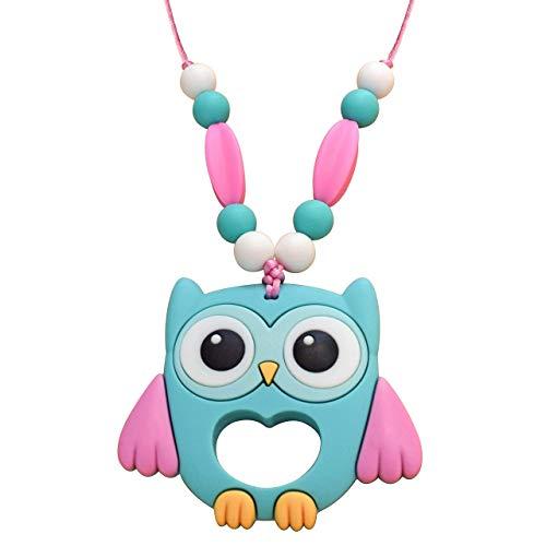 Munchables Owl Sensory Chew Necklace - Sensory Chewable Jewelry for Girls (Aqua)