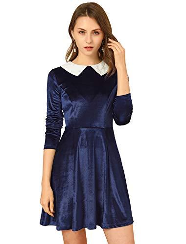 Allegra K Vestido Acampanado Cuello Peter Pan Manga Larga De Terciopelo Vintage para Mujer Azul Marino L