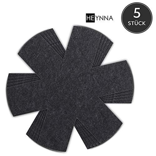 HEYNNA® Premium Pfannenschoner Filz (5er Set) für Pfanne und Topf - Stapelschutz auch als Topfschoner - 32cm Pfannenschutz schwarz