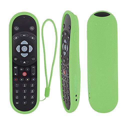 Schutzhülle für Fernbedienung, stoßfest, für Sky Q Touch und Non-Touch-Controller, hautfreundlich, Anti-Verlust, mit Handschlaufe (leuchtet in Dunkelgrün)