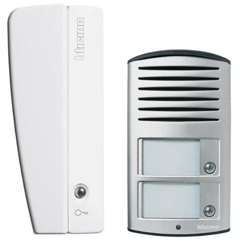 Analoges 2-Familienhaus Audio Sprechanlagen-Set mit Türstation LINEA 2000, Netzgerät und Hausstation SWING