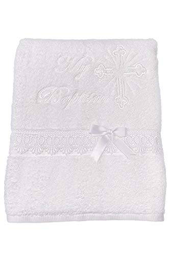 Pink Princess - White Baptism Towel for Boys and Girls - 100% Cotton for Christening Godchild Gift LDS