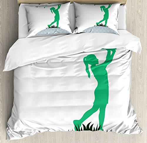 ABAKUHAUS Golf Funda Nórdica, Mujer del Jugador de Golf Teniendo disparó, Estampado Lavable, 3 Piezas con 2 Fundas de Almohada, 230 cm x 220 cm, Mar Verde y Negro