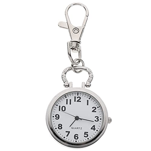 ABOOFAN Reloj Fob de enfermera con cierre de langosta portátil reloj de bolsillo de cuarzo número reloj colgante para estudiantes adultos plata