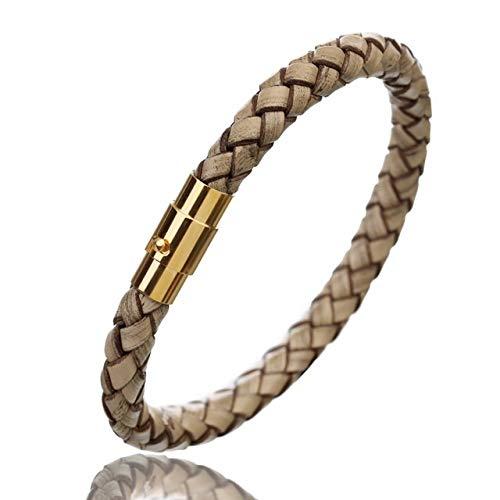 QWERTYU LIFUQIANGME Lederen Armband Männer Roestvrij Staal Magnetic Sluiting Handgemaakte Männer Armbanden Armbanden Gevlochten Lederen Armband Groothandel (Color : Wine Red Gold, Lengte : 20cm)