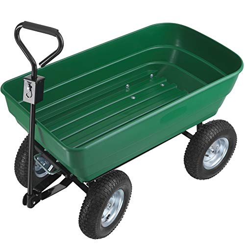 TecTake 403577 Handwagen mit Kippfunktion, 125 Liter, leichtgängige Lenkachse, luftgefüllte Gummireifen, kippbarer Transportwagen für den Garten, grün