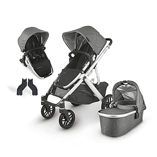 UPPAbaby Vista V2 Stroller - Jordan (Charcoal Melange/Silver/Black Leather) + Upper Adapters + RumbleSeat V2- Jordan (Charcoal Melange/Silver/Black Leather)