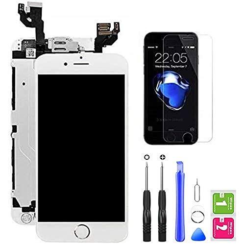 """Hoonyer Display per iPhone 6 Touch Screen LCD Digitizer Schermo 4,7"""" Utensili Inclusi(con Pulsante Home, Fotocamera, sensore Flex) Bianco"""