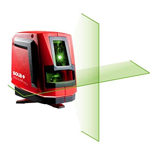 SOLA CROSSLINE GREEN - Kreuzlinienlaser 25 m - Linienlaser grün mit Sola REAL GREEN Technologie - Baulaser mit integriertem Drehfuß und flexibler Magnethalterung - IP54
