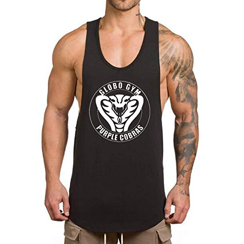 O2TEE Men's Globo Gym Purple Cobras Dry Fit Muscle Gym Workout Tank Tops Sleeveless T Shirts Black S