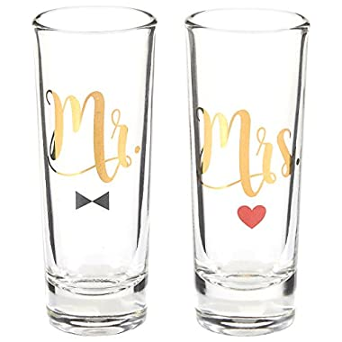 Party Shot Glasses - Mr Mrs Couple Shot Glasses with Gold Foil Print for Newlyweds, Anniversary, Bridal Shower, and Engagement - Set of 2, 2 oz Each