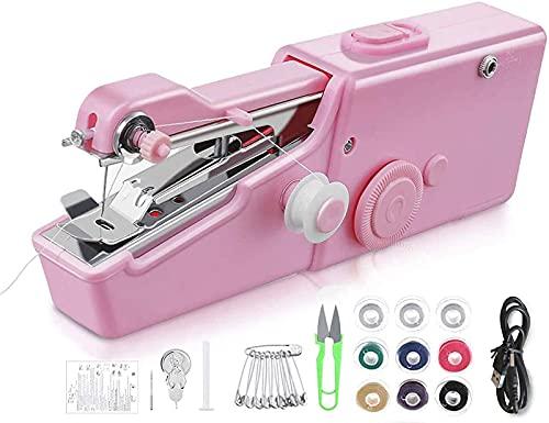 Máquina de coser de mano, mini máquina de coser inalámbrica portátil práctica herramienta de costura de reparación eléctrica para tela, bricolaje, ropa para mascotas, niños, cortina, uso en el hogar,