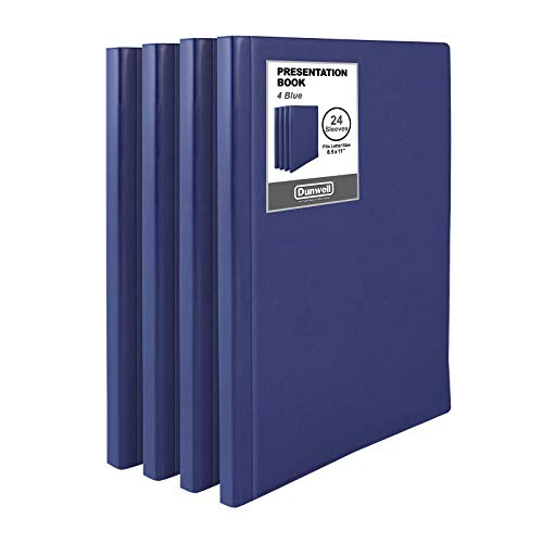 """Dunwell Binders with Plastic Sleeves (Navy Blue, 4 Pack), 24-Pocket Bound Presentation Books with Clear Sleeves, Each Displays 48 Pages of 8.5x11"""" Inserts, Sheet Protector Binders, Portfolio Folders"""