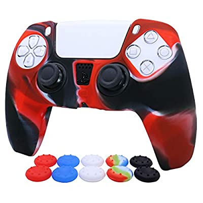Pink PS5 Controller Skins RALAN,Silicone Controller Cover Skin Protector Compatible for PS5 Controller (Thumb Grip x 10,Red+ Blue+Green+White+Colorful /2)(Red White Black)