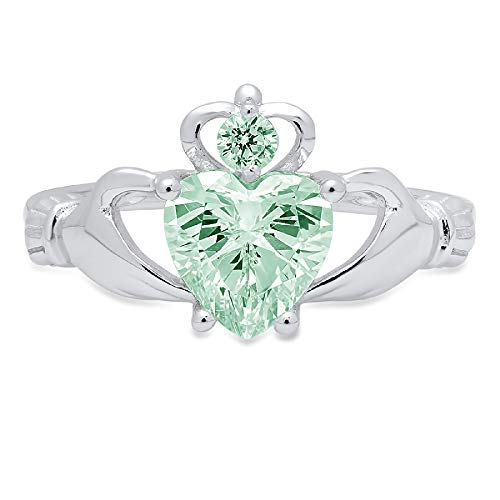 1.55ct Heart Cut Irish Celtic Claddagh Solitaire Accent Davidsonite Mint Green Simulated Diamond Ideal VVS1 Engagement Promise Anniversary Bridal Wedding Ring 14k White Gold Sz 9