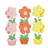 NUOBESTY 6 Piezas Portafotos con Pinza de Madera Soportes Número de Mesa en Forma de Floral Tarjetas del Lugar Portanotas de Mesa de Boda Cupleaños (Color Aleatorio)