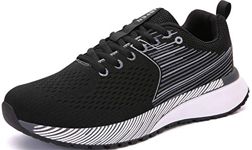 UBFEN Chaussures Homme Femme Sport Running Basket Mode Course Multifonction Gym Fitness Sneakers 42 Noir Blanc