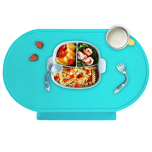 Food Catching Non-Slip Baby Placemat, Food Grade Silicone Placemats for Kids Baby Toddler (Baby Green)
