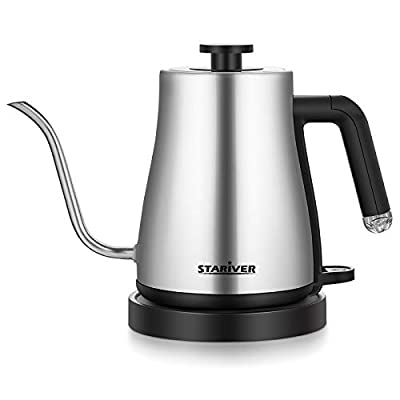 Stariver Electric Kettle Gooseneck Kettle, 1.2L Cordless Water Kettle, Pour Over Tea Pot Stainless Steel for Coffee & Tea with Fast Heating, Auto-Shut Off and Boil-Dry Protection Tech