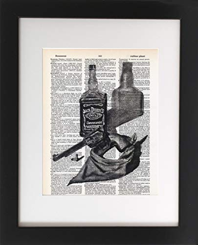 Jack Daniels and .357 Magnum - Original Artwork of a Charcoal Drawing Print on Upcycled Vintage Dictionary Page 8x10. Cowboy, Handgun and Whiskey Wall Art. -'Unframed'